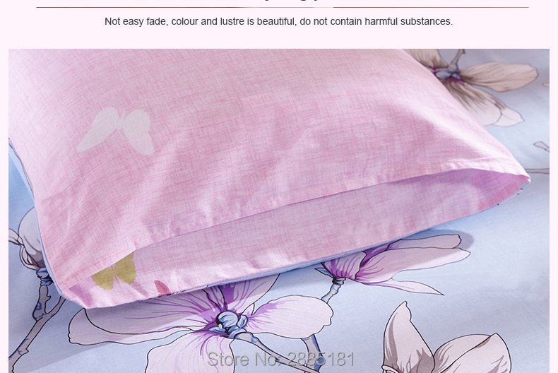 New 100% Cotton Pillowcases Lilac Colour Flower Pillow Case 2 Pcs Home One Pair Printing Brief Style Pillow Cover Shams 48x74cm 7