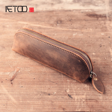2018 new Crazy horse skin vintage pen pocket school handmade retro oil tanned stationery pencil bag Organizer Wallet Cowboy(China)