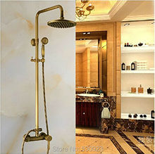 Newly Antique Brass Bathroom Shower Set Faucet 8 Inch Rain Round Shower Head W/ Handheld Shower Wall Mount Single Handle