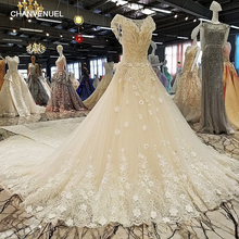 Buy LS00302 robe de mariee casamento backless cap sleeves lace ball gown cathedral train beading luxury wedding dresses real photos for $505.91 in AliExpress store