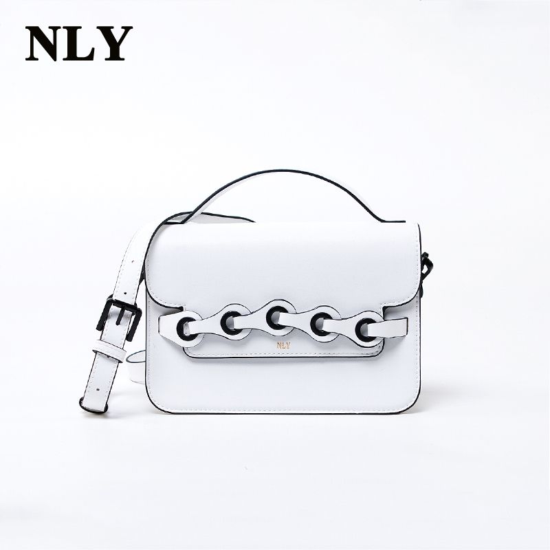2017 Fashion Brand Ladies Women High Quality White Microfiber Synthetic Leather Shoulder Crossbody Metal Corns Messenge Handbag(China (Mainland))