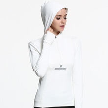 Fitness Coat Costumes White Hooded Yoga Clothes Women Sports Shirt Long Sleeve Breathable Quick Dry Ladies Zipper Running Jacket