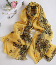 100% designer brand fashion pure silk cc scarf 2015 fall for women cape winter yellow print shawls cape logo fancy neck scarfs