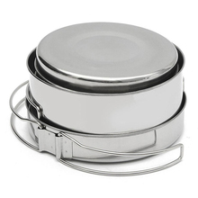 Outdoor Camping Equipment Backpacking Cooking Picnic Pot Pan Plate Cup Set Cookware Stainless Steel Silver
