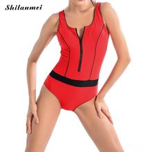 Red Backless design large size professional swimsuit for women slim curve thin swimwear swimming bodysuit one-piece suits(China)