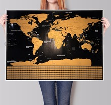 Deluxe World Map Retro poster Vintage Ocean poster bar cafe pub home Europ Center geography gift 82x59cm