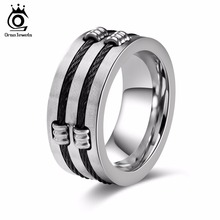 ORSA JEWELS Women Stainless Steel Rings Personalized Design Silver Color Surface Width 10 MM Men Band Party Jewelry GTR35(China)
