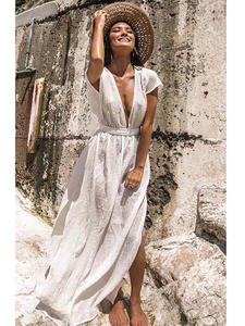 Ashgaily Sarong Wrap Dress Bikini Skirt Swimsuit Tunic Cover-Up Beach-Wear White Cotton