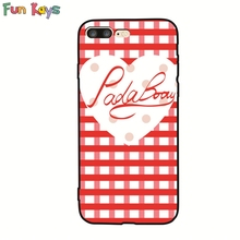 Fun Kays Red Heart Love Grid Pada Baby Cute Point Letter 6 7 Phone Case Slim Lovely Back Cover Ultrathin Shell Dropship Kawaii(China)