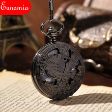 Skeleton Watches Classic Steampunk Pocket Watch US Eagle Emblem Army Men Black Fashion Vintage Hand Wind Mechanical Pocket Watch