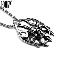 HIP Punk Gothic Casting Titanium Stainless Steel Flame Skeleton Head Pendants Necklaces for Men Jewelry