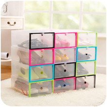 vanzlife thicky colored transparent plastic clamshell shoebox storage box drawer shoe boots organizing boxes