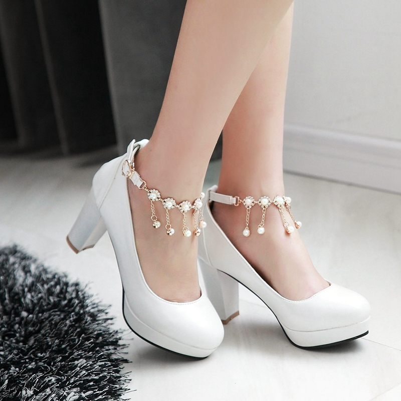 Customized Large Size 40 41 42 43 Beige White Pink Blue PU Round Toe Ankle Beaded Pendant Thick High Heeled Pump Shoes Women<br><br>Aliexpress