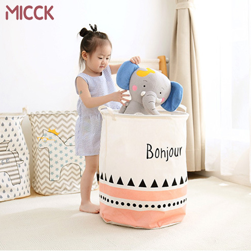 Picnic Basket Storage Orgnizer Cartoon Folding Large-Capacity Children Waterproof Linen title=