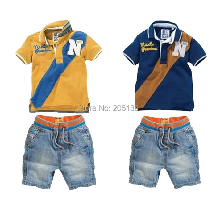 2017 New Baby clothing set Children sport sets T shirt+jean pants fashion kids clothing toddler boy clothes suit<br><br>Aliexpress