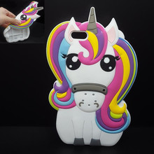 For iPhone 7 7Plus 6 6s Plus 5 5s 3D Rainbow Unicorn Case Horse Cute Cartoon Silicone Rubber Soft Cell Phone Cover Shell   C311
