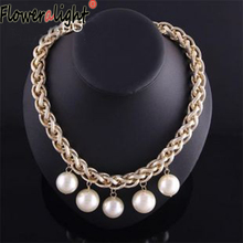 Floweralight Classic Large Exaggerated Chain Jewellery Imitate Pearl Jewelry Pendants Necklaces for Women Free Shipping 88N1768