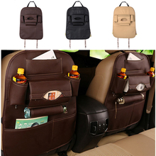Auto Supplies Car Leather Seat Back Folding Storage Box Multi-Use Tools Organizer Car Portable Storage Bags Black Beige Brown(China)