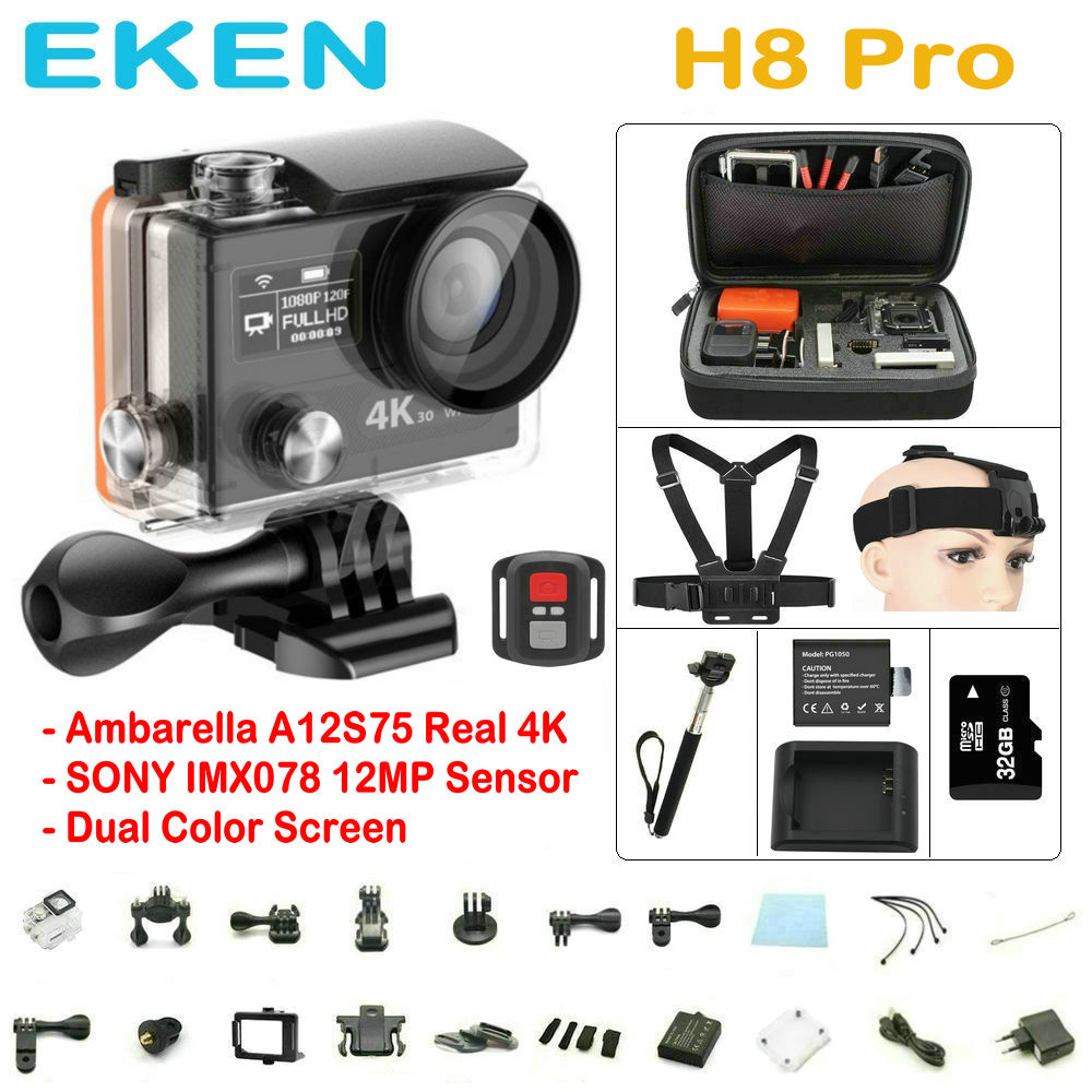 EKEN H8PRO Action Camera WiFi remote control Ambar...