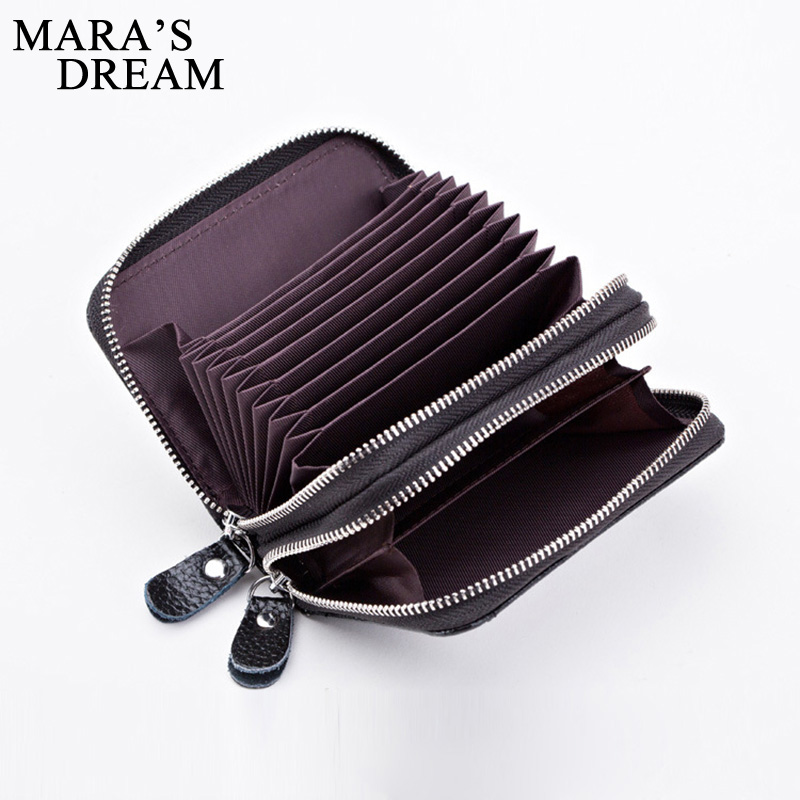 Maras Dream Fashion Brand Genuine Leather Women Card Holder Double Zipper Large Capacity Female ID Credit Card Case Bag Wallet<br><br>Aliexpress