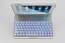 For iPad Air ipad 5 Wireless Bluetooth Aluminum KeyBoard Stand Case Cover with 7 Color backlight For ipad air