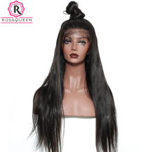Pre Plucked Full Lace Human Hair Wigs For Black Women 180% Density Brazilian Straight Lace Wig With baby Hair Rosa Queen Remy(China)