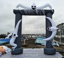 grey inflatable halloween arch with white ghost for holiday decoration(China)