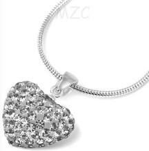 Min.$15 Mixed Order+Free Shipping+Gift.white 12*14mm 10Pcs/Lot heart Silver Plated  FHN Crystal Shamballa  Necklace  For Women.