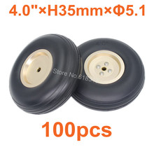 "Buy 100pcs /Lot 4.0""/ 102mm Rubber Tail Wheels Alloy Hub Core Thickness:35mm Axle hole: 5.1mm RC Plane Replacement for $416.64 in AliExpress store"