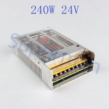High quality new model  Strip  240W 24V 10A Switching Power Supply Silver LED AC 110-220V Input to DC 24V