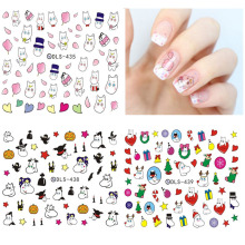 DLS418-439 2017 Water Transfer Foils Nail Art Sticker Nails Cartoon Harajuku Christmas Fox Frog Decals Minx Nail Decoration