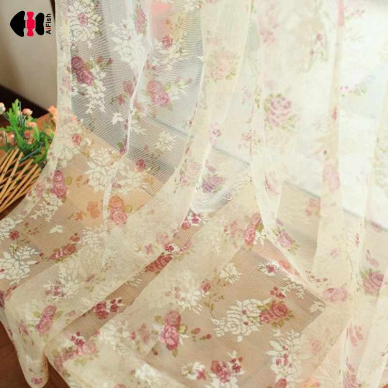 Delicate Floral Lace Curtain for Living Room Wedding Countryside Mesh New Home Decor  French Window Gauze JS24C