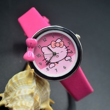 Cute Children students Girl Hello kitty KT cat bowknot style Leather strap Quartz Wrist Watch