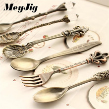 MeyJig 6pcs/Set Spoon and Fork Kitchen Nostalgic Vintage Royal Style Bronze Carved Small Coffee Tea Milk Dessert Spoon and Fork(China)