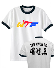 World Taekwondo Federation T shirt men two sides WTF Ringer gift Casual tee USA size S-3XL(China)