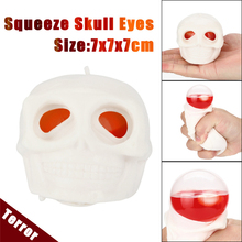 White Terrot Skull Stress Relief Toy Decor decompression Popping Out Eyes Squeeze Toys For Children Anti-Stress Halloween Toys(China)