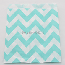 100pcs Mixed Colors Light Blue Wide Zig Zag Party Paper Bags,Kids Food Buffet Candy Treat Favor Gift Bags,Birthday,Baby Shower