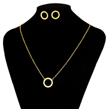 Fashion Round Geometric Necklace Stainless Steel Jewelry Set Women Necklace And Stud Earring Gold Jewelry Sets For Women N3