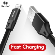 Benks Usb Cable For iPhone 5 6 6s 7 8 X Super Elasticity 2A Fast Charging Charger Adapter Flat Nylon-braided Mobile Phone Cables(China)