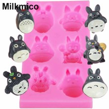 Milkmico M885 Cartoon Animal Totoro cat Silicone Fondant Soap 3D Cake Mold Cupcake Jelly Candy Chocolate Decoration Baking Tool(China)
