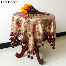 High quality customization tablecloths European style velvet flowers printing table mats chair covers sets(China)