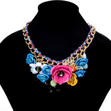 Simulated Gemston Necklaces Rope Weave Chain Colored Flower Pendants Necklace Women Collares Statement Jewelry Gift Accessories