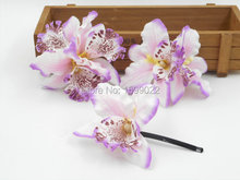 3pcs/lot Purple White Hair Clips Women Alligator Barrettes Orchid Flower Accessories for Brides Vintage Wedding Prom Hair Piece