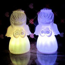 Colorful Changing Creative LED Night Light Decoration Lamp Nightlight Angel Shaped Desk Table Lights for Bedroom Xmas Gift(China)