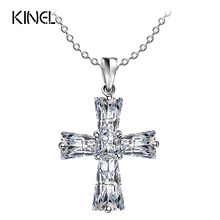 Kinel Luxury Cubic Zircon Cross Necklaces For Women Silver Color Pendants Cross Christian Jesus Jewelry Accessories