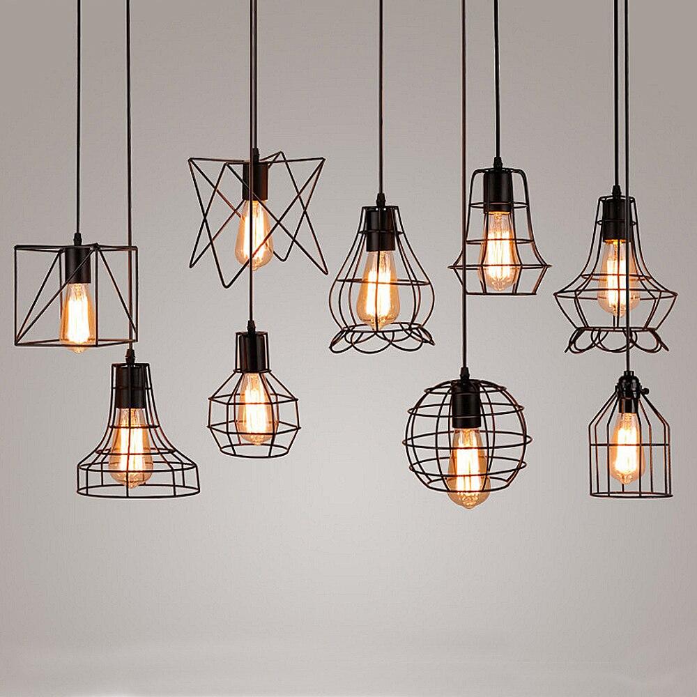 Vintage Iron Pendant Light Industrial Loft Retro Droplight Bar Cafe Bedroom Restaurant American Country Style Hanging Lamp<br>