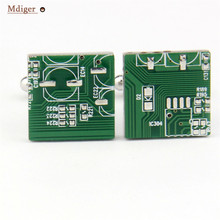Mdiger Design Mens Computer Circuit Board Cufflinks Casual Business Shirt Green Circuit Board Personality Custom Mens Cufflinks(China)