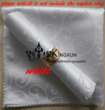 White Color Jacquard Damask Table Napkin For Wedding Decoration