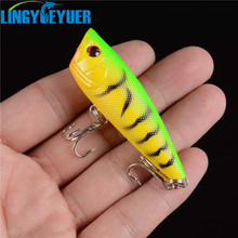 1PCS Fishing Lure Topwater Popper Crankbait Hard Bait 6cm/6.9g Floating Lures Treble Hooks(China)