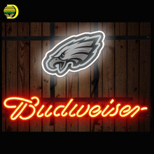Neon Sign Budweiser Philadelphia Eagles Neon Signs Glass Tubes Neon Bulbs Signboard Handcraft Decorate Room neon lights for sale(China)